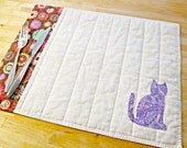 Quilted Placemats, Cat Placemats, Cat Decor, Fabric Placemats