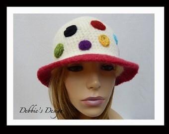 Women's Handmade Cloche Hat-483 SALE Women's Felted Cloche Hat, Vintage, Accessories, Hat, cloche felt hat, Downton abbey
