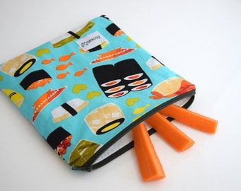 Sushi Bag, Small Zipper Pouch, Food Bag, Reusable Sandwich Bag, Handmade, Ready to Ship