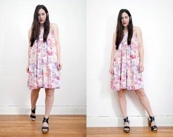 Vintage Floral Grecian Smock Boho Hippie Mini Dress