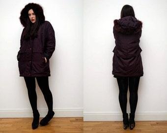 Vintage Real Fox Fur Parka  Coat Parka