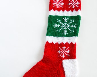 Knit Snowflake Christmas Stocking - Personalized