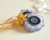 NEW Amethyst Druzy Earrings, Gold Vermeil, Drop Earrings, Real Gemstone Jewelry, Semiprecious Stone, Free Shipping