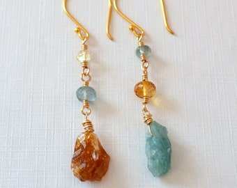 Mix and Match Earrings, Raw Gemstone Jewelry, Citrine Moss Aquamarine, Mismatched, Gold Vermeil Jewelry, Free Shipping