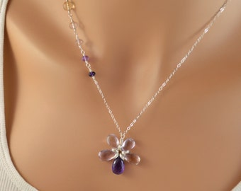 Flower Necklace, Pink Amethyst and Ametrine Gemstones, Sterling Silver, Lilac Lavender Purple Jewelry, Free Shipping