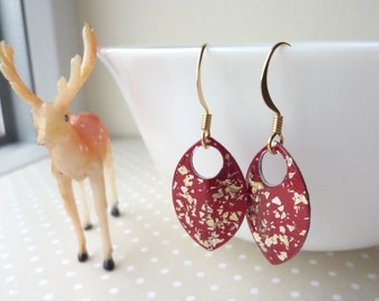 Glitter Earrings, Red and Gold, Aluminium Scales, Gold Glitter Flakes, UK Earrings