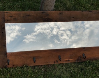 Barn wood mirror ,coat   rack entryway mirror  made from 1800s rustic reclaimed barn wood