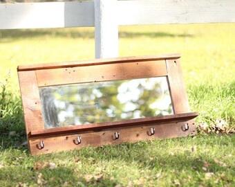 Barn wood mirror ,coat rack w/shelf entryway mirror  made from 1892 rustic barn wood