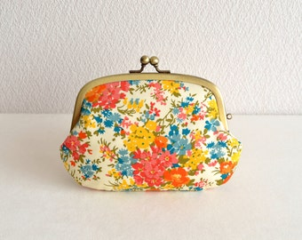 Liberty orange/yellow floral 3 pockets frame purse /coin wallet