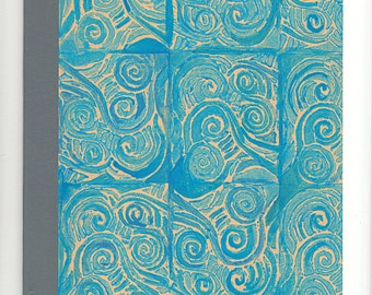 B5 Notebook Linocut print Lined Notebook Journal //Blue Sea Print//Recycled Vegan Linocut