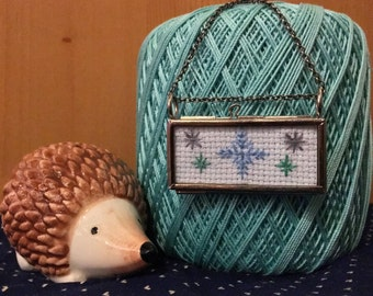 Snowflakes Cross Stitched Glass Locket Necklace