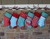 Pick Any 7 Plush Stockings.  Set of SEVEN Personalized Christmas Stockings with Embroidered Name Tags.  SALE.
