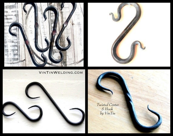 Four Hooks, Four Different Styles to Choose From Hand Forged Iron S Hooks by VinTin