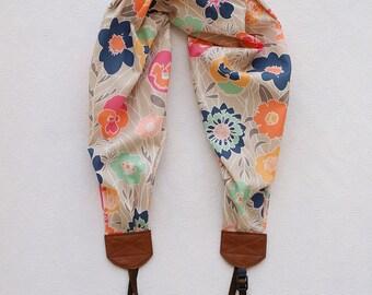 scarf camera strap boho floral - BCSCS058