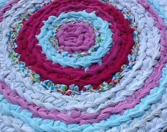 Pink white and blue nursery crochet rug
