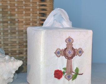 Crown of Thorns Cross Tissue Box Cover