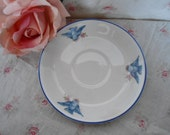 Vintage Bluebird Swallow Pink Rose Cleveland China A 22 Tea Cup Saucer