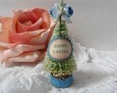 Easter Bottle Brush Trees Roses Spring Blue Light Sky Wood Base Shabby Chic