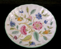 Haddon Hall, Minton China Small Round Dish, Scalloped Edge with Green Trim