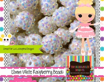 WHITE RASPBERRY Beads 12mm Qty 20 Resin Acrylic Chunky BEADS Wholesale Beads Bubblegum Beads Chunky Necklace Bubblegum Necklace Supplies