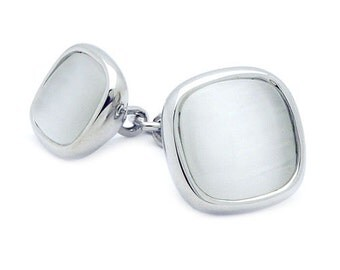 Silver White Double Cufflinks
