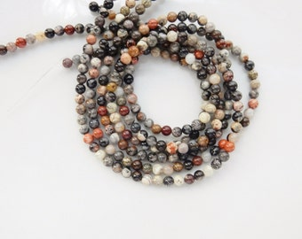 4mm Silver Leaf Jasper round  beads , full strand (15.5 inches)