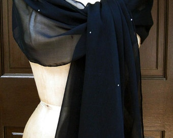 Navy Blue Dark Chiffon Shawl Wrap Scarf with Rhinestones