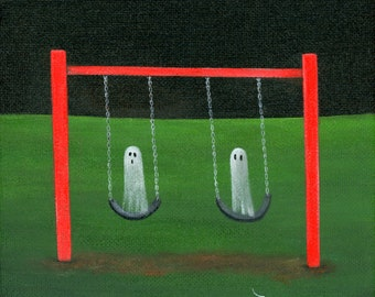 Original Painting Ghost Swing - 6x6 - Halloween Folk Art - 2 Ghosts Swinging on a Red Framed Swingset in the night - OOAK Acrylic on Canvas