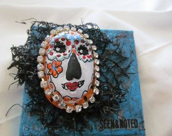 Seen and Noted tiny Day of the Dead Skully altered canvas