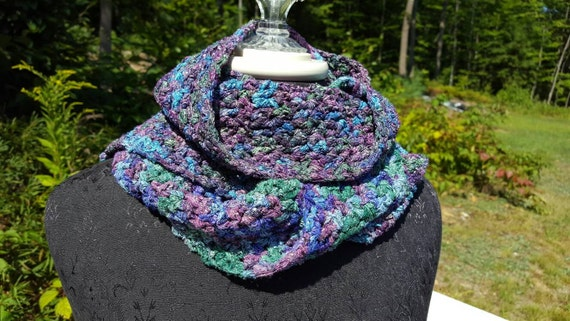 Satin ribbon hand crocheted scarf, multi-colored wrap, OOAK neckwear,