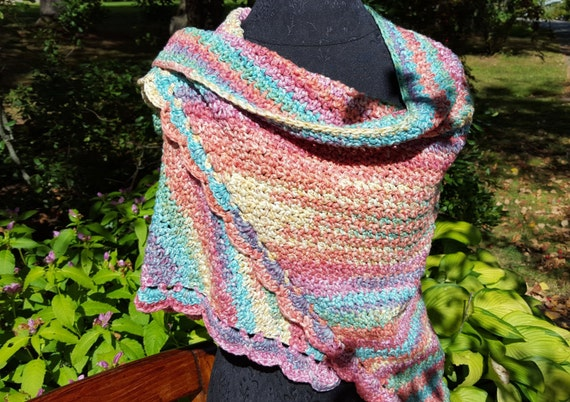 Rainbow sherbet hand crocheted shawl wrap with moss stitching and scallop edging - Ready to Ship - OOAK