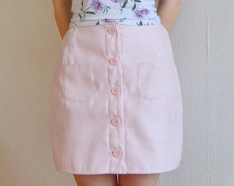Pink High-Waist Suede Skirt Small