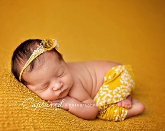 Leighton Heritage Newborn Apparel Baby Girl Soft Leggie Pants Photography Posing Photo Prop Infant Girly Fall Inspired Mustard Knit Leggings
