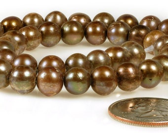 7-7.5mm Rich Brown Round Freshwater Pearls   * Pearl21