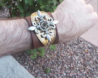 Steampunk style Fleur de lis leather wrist cuff