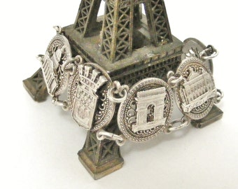 Vintage French Paris souvenir bracelet in filigree silver plate