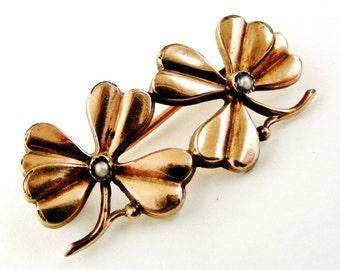 Antique French rose gold fill brooch trefoil shamrock art deco / nouveau