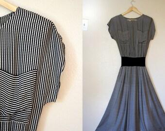 Vintage Dress / 80s Silk Dress / Extra Small