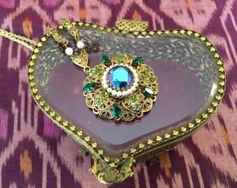 60s statement necklace, aurora borealis rhinestones and pearls