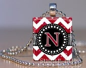 NEW - Monogram Initial Necklace - Red, White, Silver Glitter Chevron - Scrabble Tile Pendant with Chain