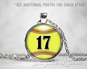 Personalized Softball Necklace - Glass Dome Necklace - Custom Softball Pendant - Sports Necklace - Softball Mom - Name or Number