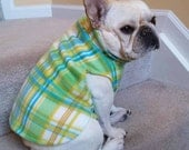 French Bulldog Frenchie Lime Green and White Plaid Fleece Pullover Jacket with Stand Up Collar