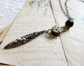 Romantic rocker chic black bead, rhinestone, and sparkling dark spike pendant necklace, Dark and Dangerous