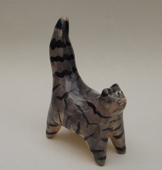 Brownish gray tabby cat, miniature ceramic figurine