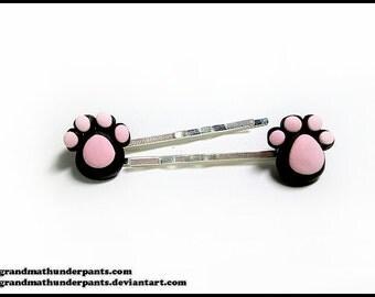 Small Paw Bobby Pins, Catbeans, Paw Bean Clips, Handmade Cute Hair Clips