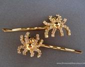 Vintage earrings hair slides - Halloween sparkly crystal rhinestone spider gold black fun girl embellish decorative jeweled hair accessories