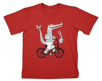 Childrens - T-shirt / Tee - The Crococycle - Red - Crocodile and Bicycle tee - (XS/S/L) by Oliver Lake - iOTA iLLUSTRATiON