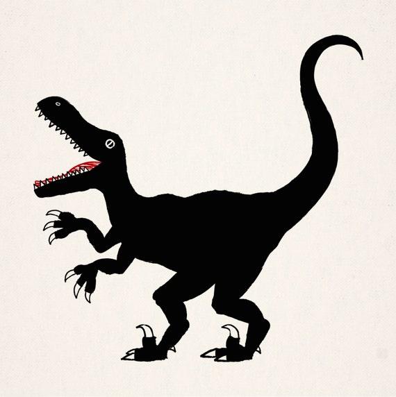 Raptor - black and white dinosaur illustration - art print
