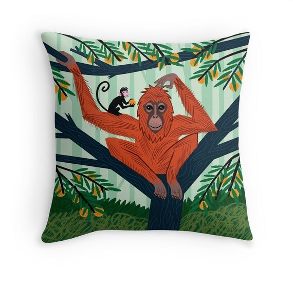 "The Orangutan in The Orange Trees - Children's illustrated Cushion Cover / Throw Pillow Cover - Animal Art - (16"" x 16"") by Oliver Lake"