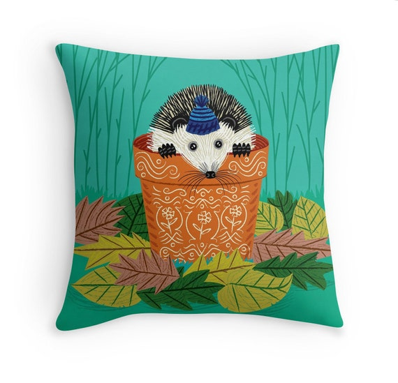 "A Hedgehog's Home -  illustrated Pillow Cover / Throw Cushion Cover - Children's room - Home Decor - (16"" x 16"") by Oliver Lake"